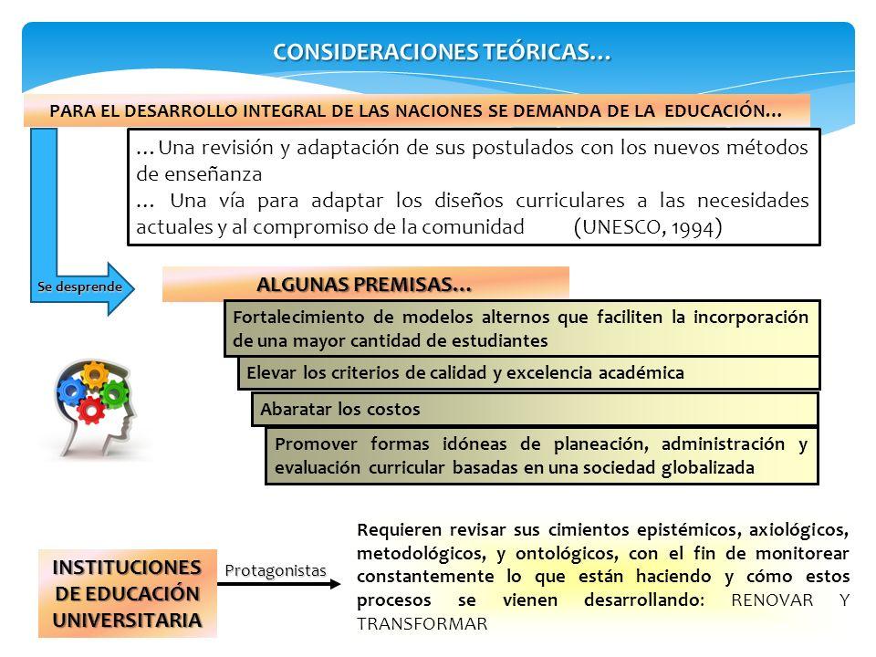 CONSIDERACIONES TEÓRICAS… INSTITUCIONES DE EDUCACIÓN UNIVERSITARIA