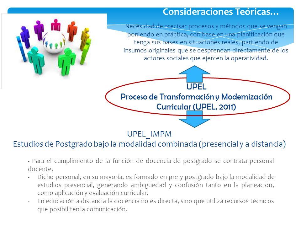 Proceso de Transformación y Modernización Curricular (UPEL, 2011)
