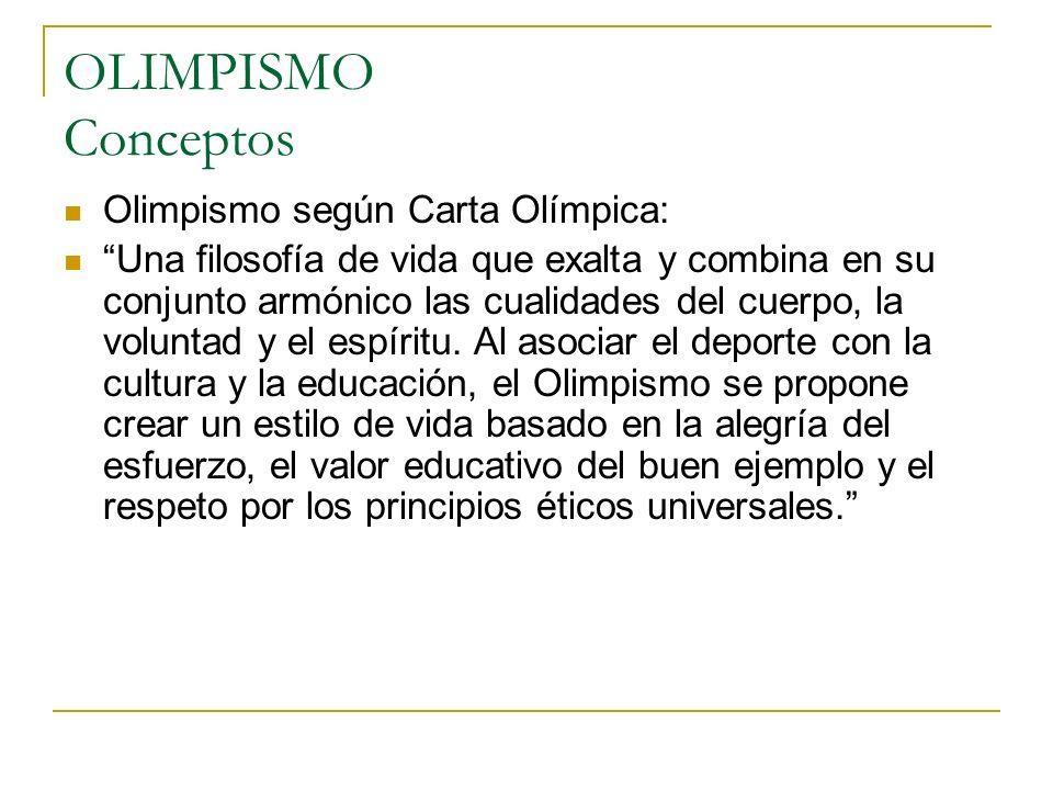 OLIMPISMO Conceptos Olimpismo según Carta Olímpica:
