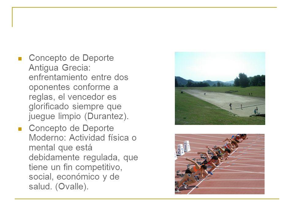 Concepto de Deporte Antigua Grecia: enfrentamiento entre dos oponentes conforme a reglas, el vencedor es glorificado siempre que juegue limpio (Durantez).