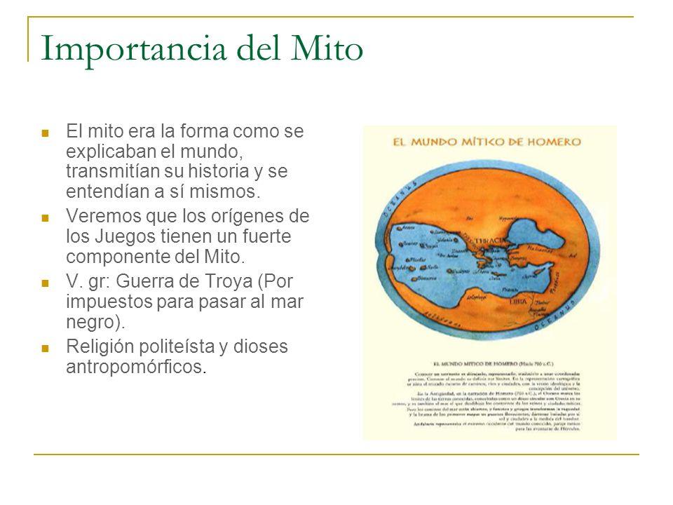 Importancia del Mito El mito era la forma como se explicaban el mundo, transmitían su historia y se entendían a sí mismos.