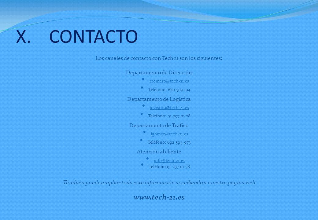 CONTACTO Los canales de contacto con Tech 21 son los siguientes: