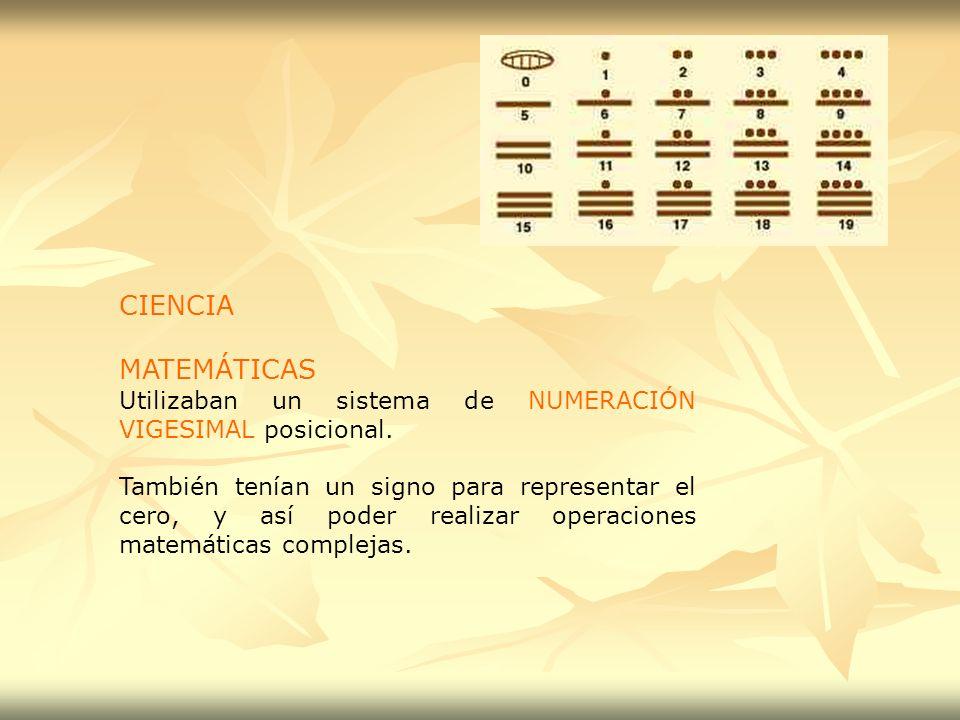 CIENCIA MATEMÁTICAS. Utilizaban un sistema de NUMERACIÓN VIGESIMAL posicional.