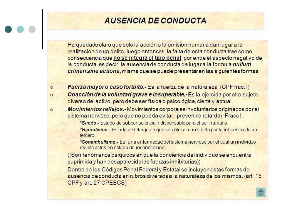 AUSENCIA DE CONDUCTA