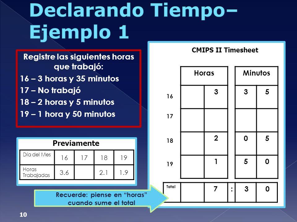 Declarando Tiempo– Ejemplo 1