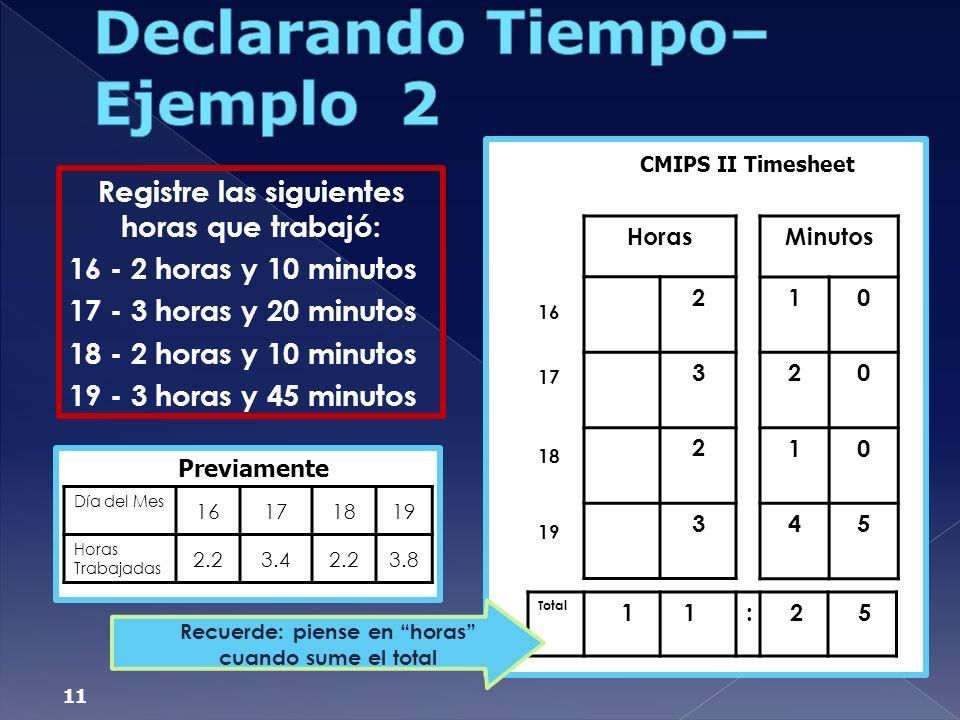 Declarando Tiempo– Ejemplo 2