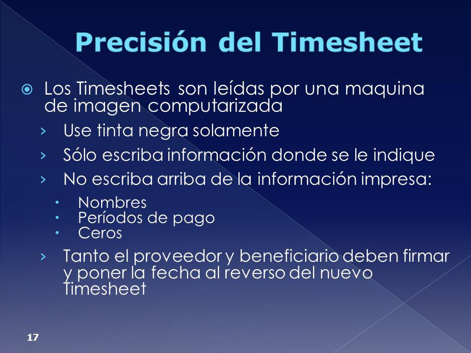 Precisión del Timesheet