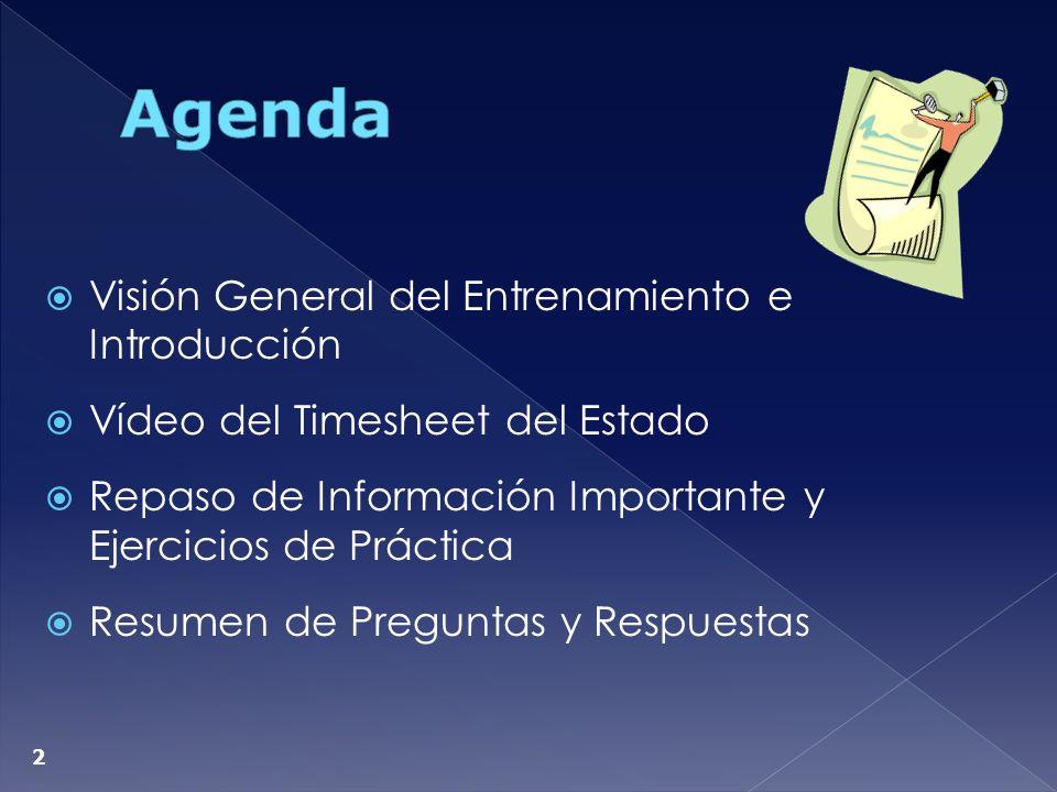 Agenda Visión General del Entrenamiento e Introducción