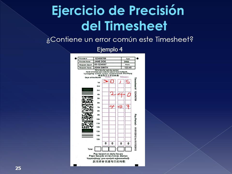 Ejercicio de Precisión del Timesheet