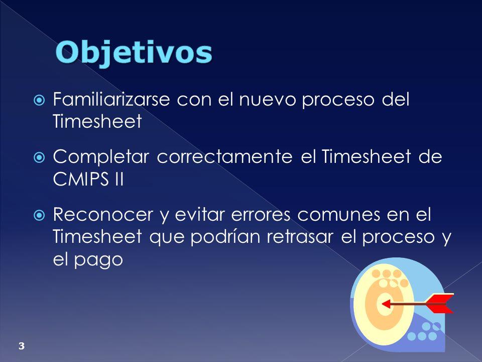 Objetivos Familiarizarse con el nuevo proceso del Timesheet