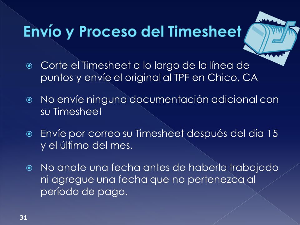 Envío y Proceso del Timesheet