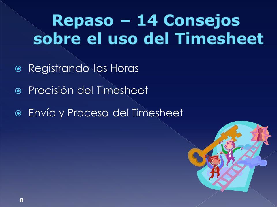 Repaso – 14 Consejos sobre el uso del Timesheet
