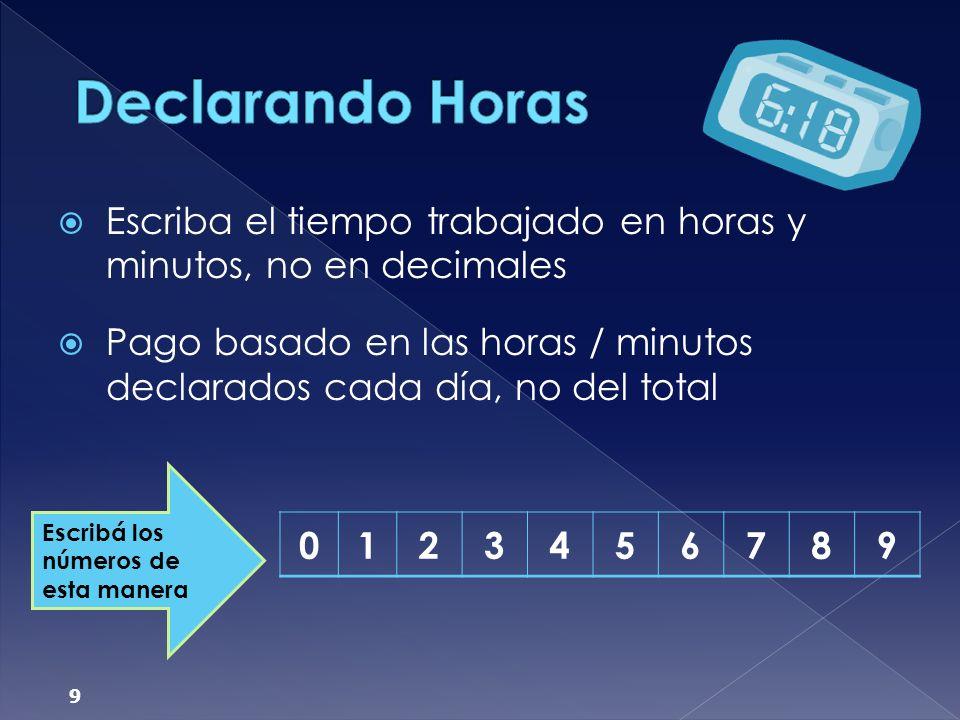 Declarando Horas Escriba el tiempo trabajado en horas y minutos, no en decimales.