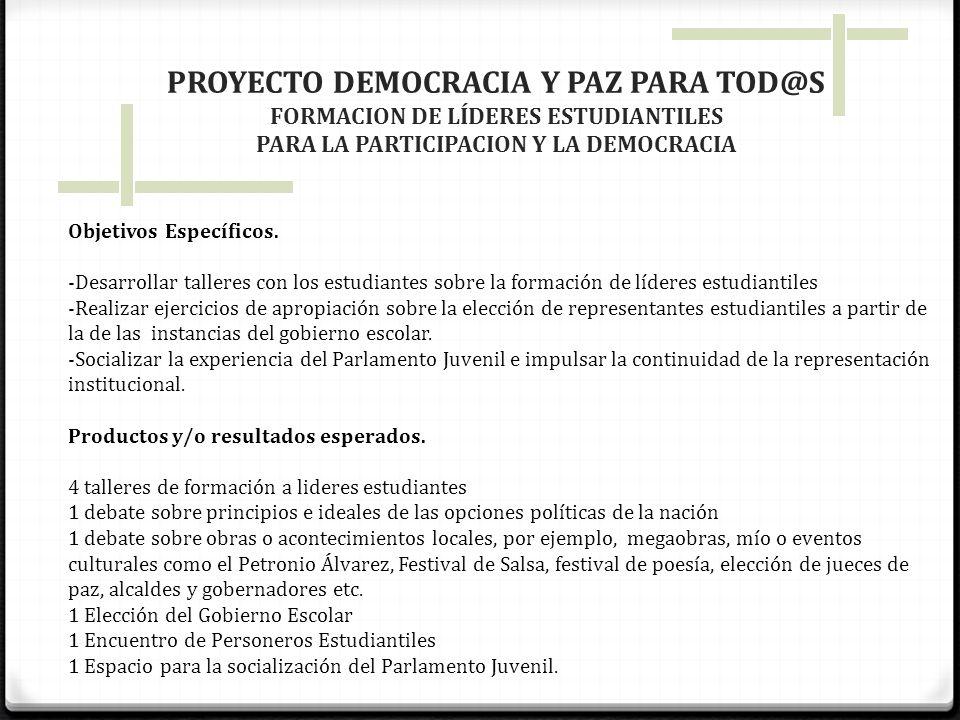 PROYECTO DEMOCRACIA Y PAZ PARA TOD@S