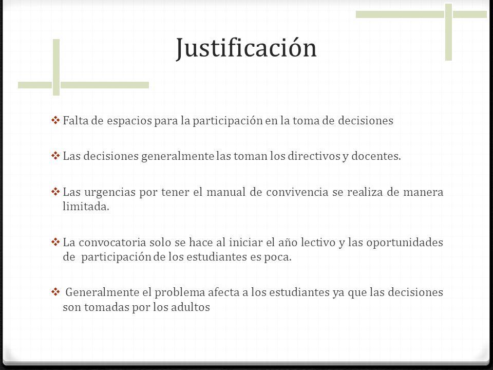 Justificación Falta de espacios para la participación en la toma de decisiones. Las decisiones generalmente las toman los directivos y docentes.