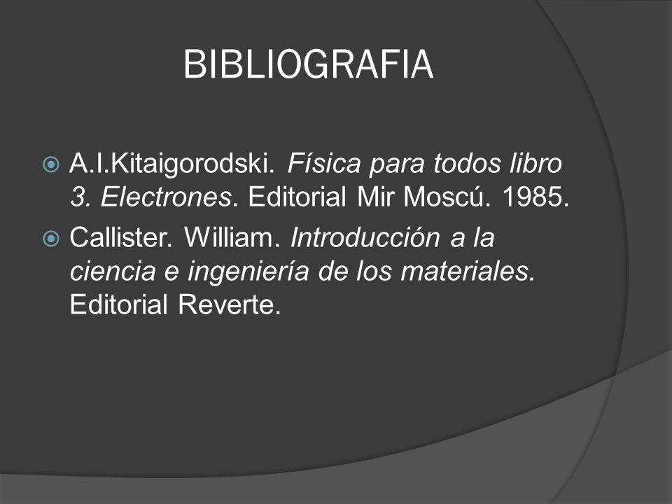 BIBLIOGRAFIA A.I.Kitaigorodski. Física para todos libro 3. Electrones. Editorial Mir Moscú. 1985.