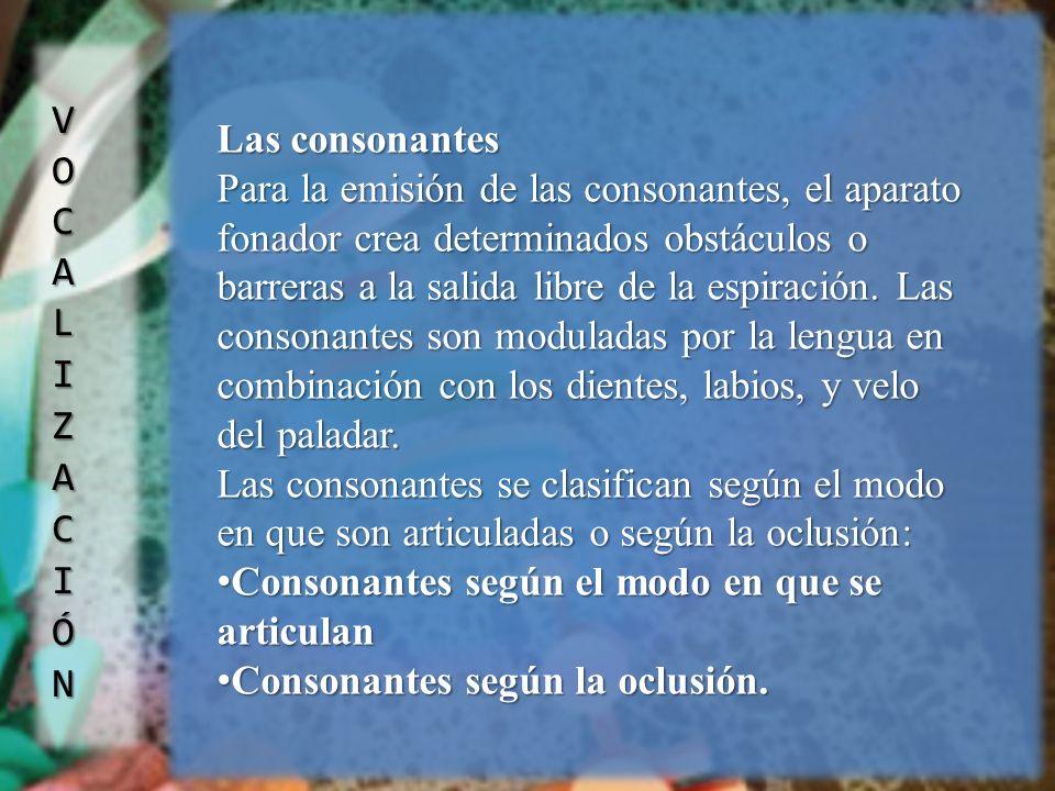 VOCALIZACIÓN Las consonantes.
