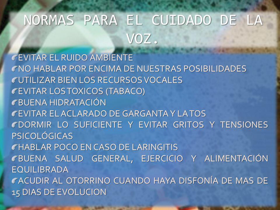 NORMAS PARA EL CUIDADO DE LA VOZ.