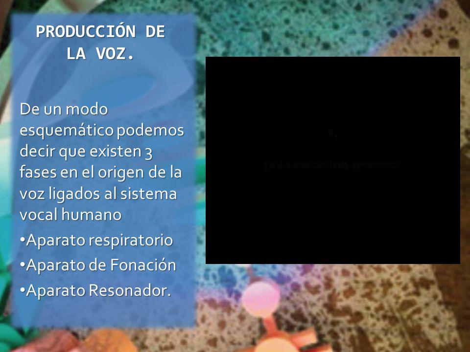 PRODUCCIÓN DE LA VOZ. De un modo esquemático podemos decir que existen 3 fases en el origen de la voz ligados al sistema vocal humano.