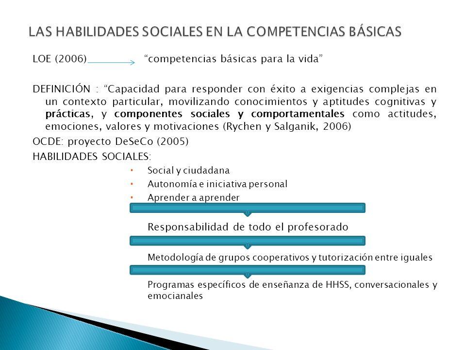 LAS HABILIDADES SOCIALES EN LA COMPETENCIAS BÁSICAS