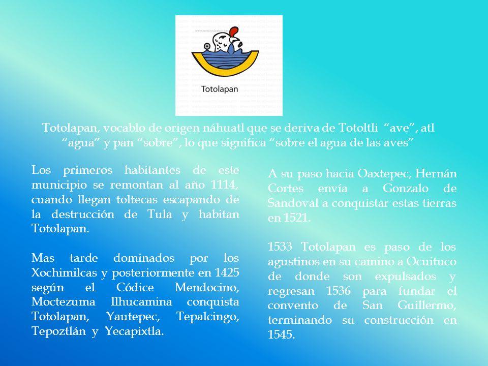 Totolapan, vocablo de origen náhuatl que se deriva de Totoltli ave , atl agua y pan sobre , lo que significa sobre el agua de las aves