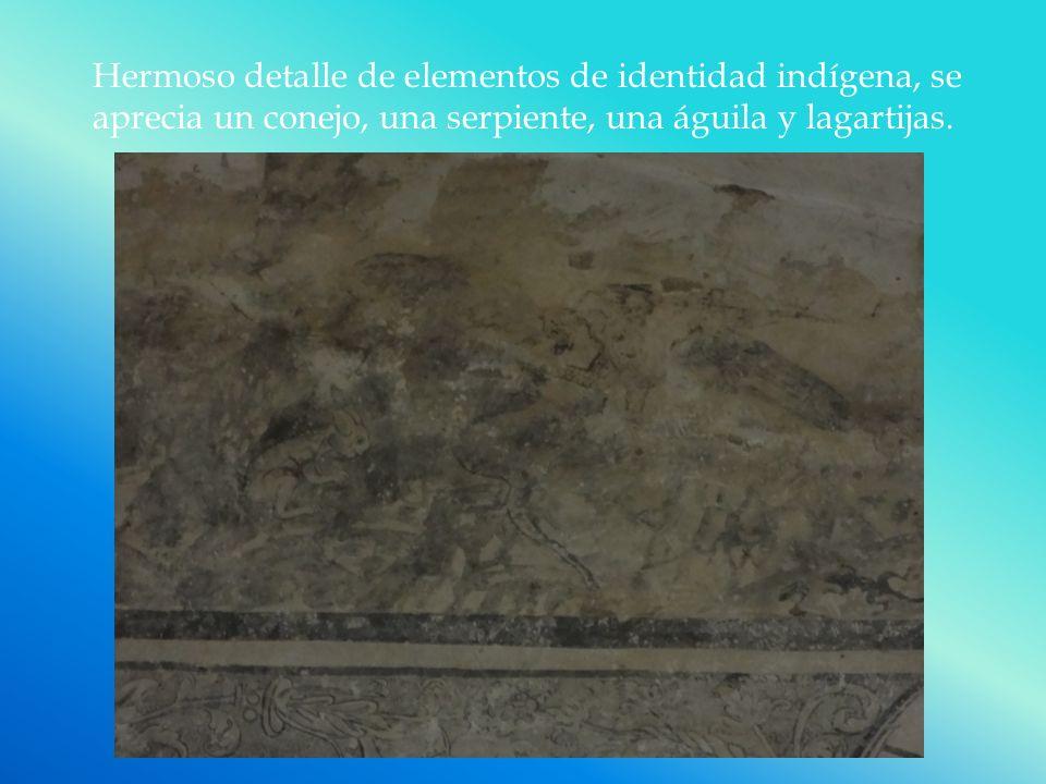 Hermoso detalle de elementos de identidad indígena, se aprecia un conejo, una serpiente, una águila y lagartijas.