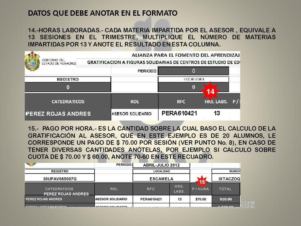 DATOS QUE DEBE ANOTAR EN EL FORMATO