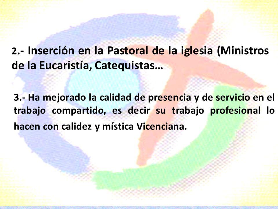 2.- Inserción en la Pastoral de la iglesia (Ministros de la Eucaristía, Catequistas…