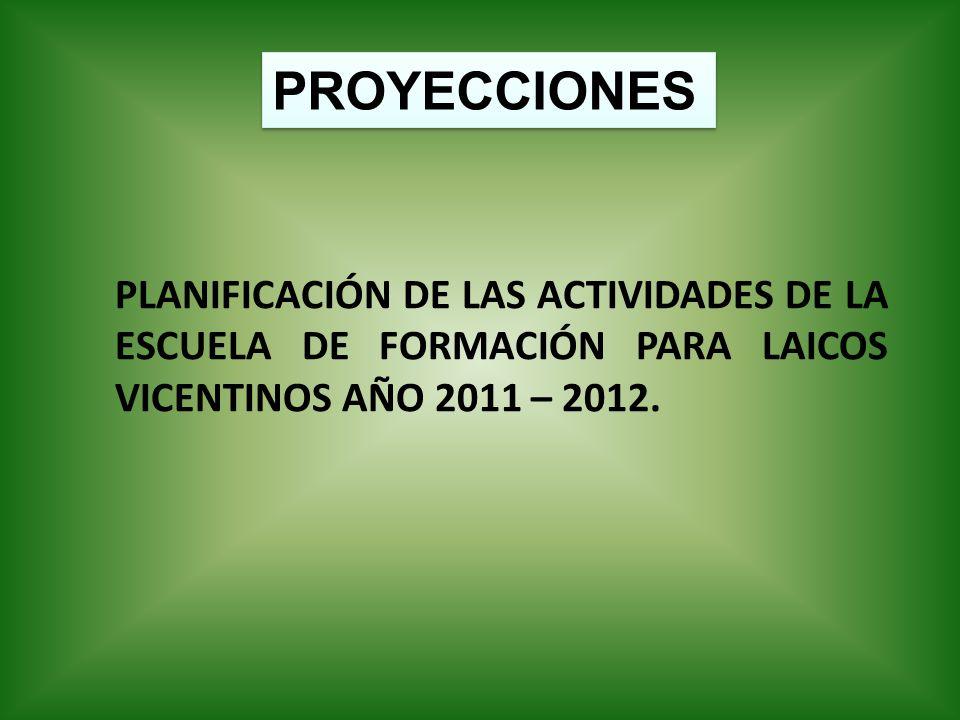 PROYECCIONES PLANIFICACIÓN DE LAS ACTIVIDADES DE LA ESCUELA DE FORMACIÓN PARA LAICOS VICENTINOS AÑO 2011 – 2012.