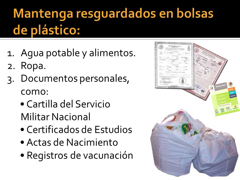 Mantenga resguardados en bolsas de plástico: