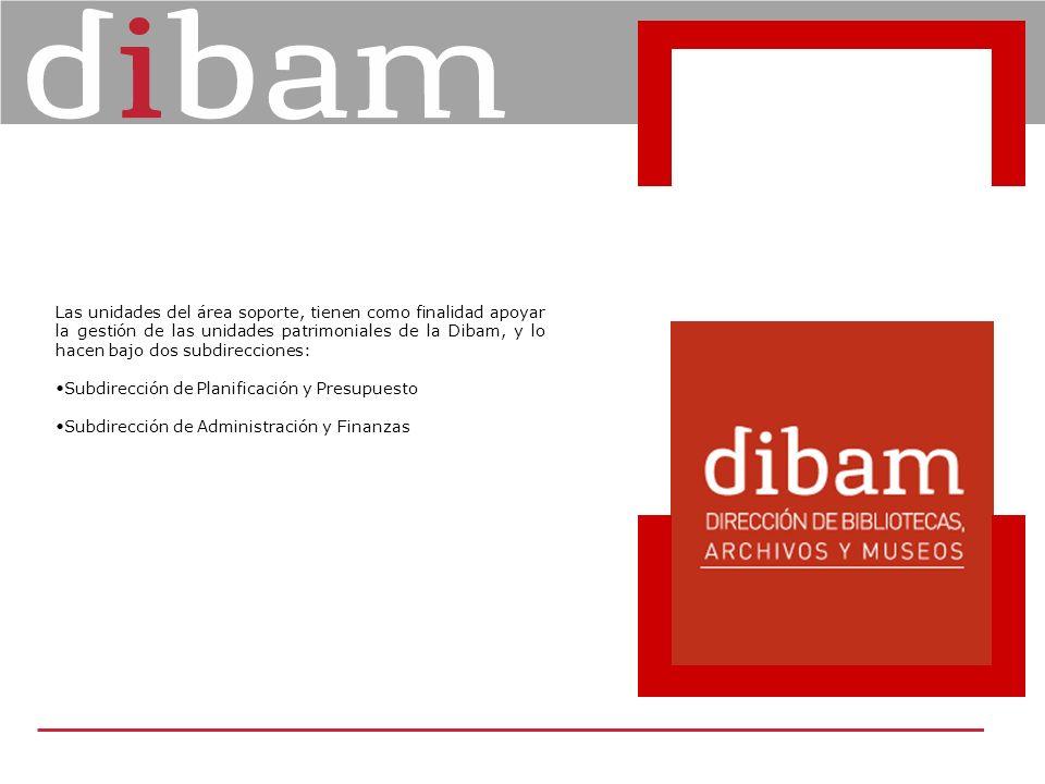Las unidades del área soporte, tienen como finalidad apoyar la gestión de las unidades patrimoniales de la Dibam, y lo hacen bajo dos subdirecciones: