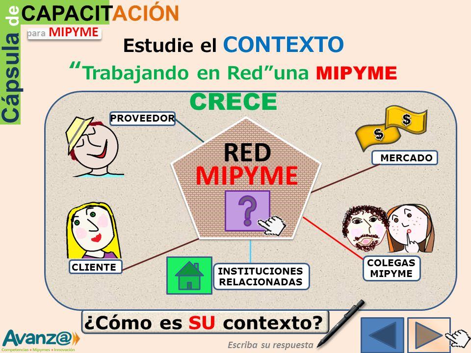 Trabajando en Red una MIPYME CRECE INSTITUCIONES RELACIONADAS