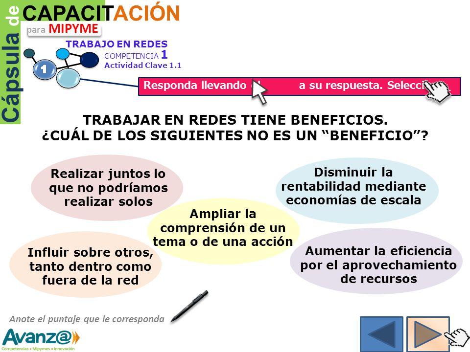 Cápsula de CAPACITACIÓN TRABAJAR EN REDES TIENE BENEFICIOS.