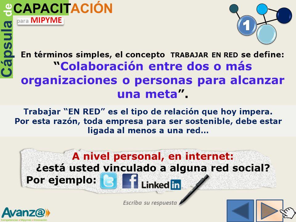 Trabajar EN RED es el tipo de relación que hoy impera.