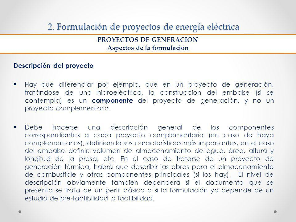 2. Formulación de proyectos de energía eléctrica