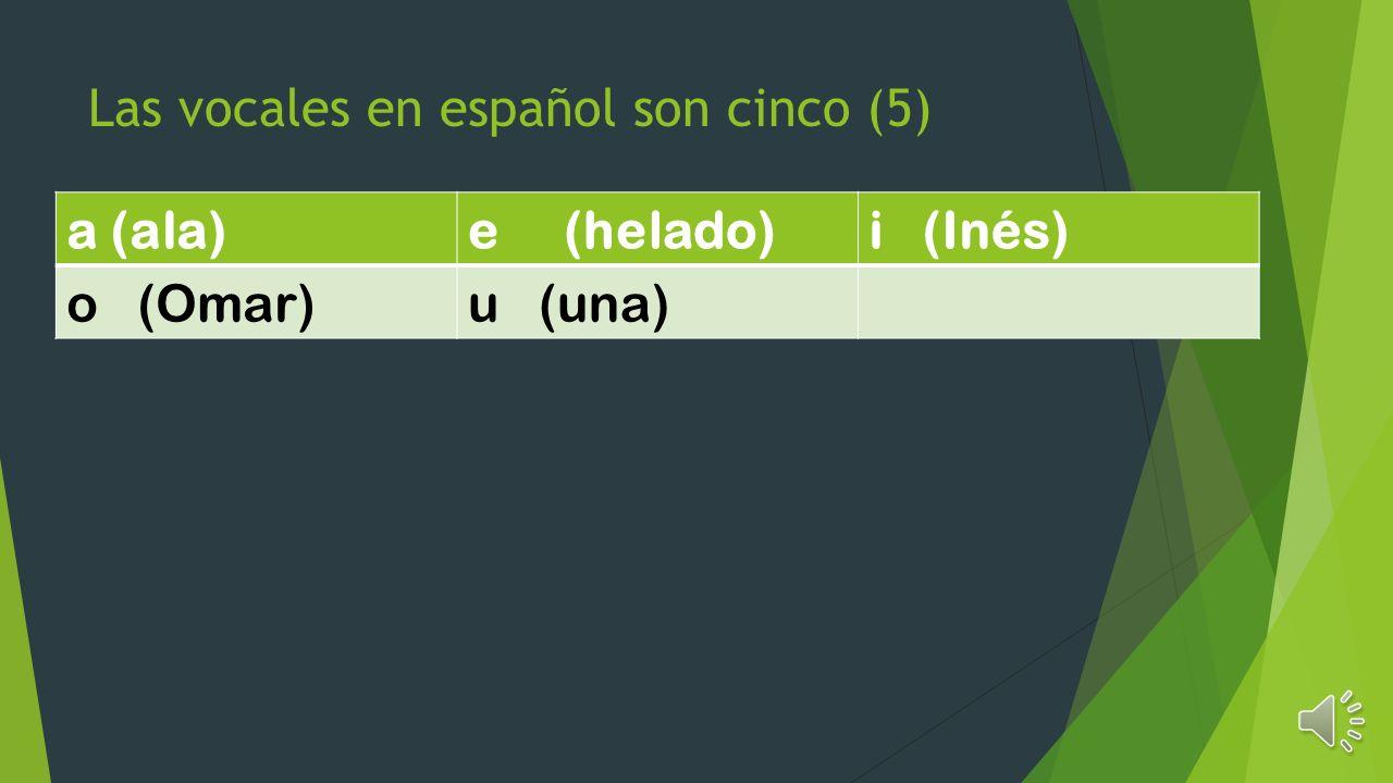 Las vocales en español son cinco (5)