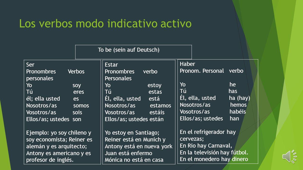 Los verbos modo indicativo activo