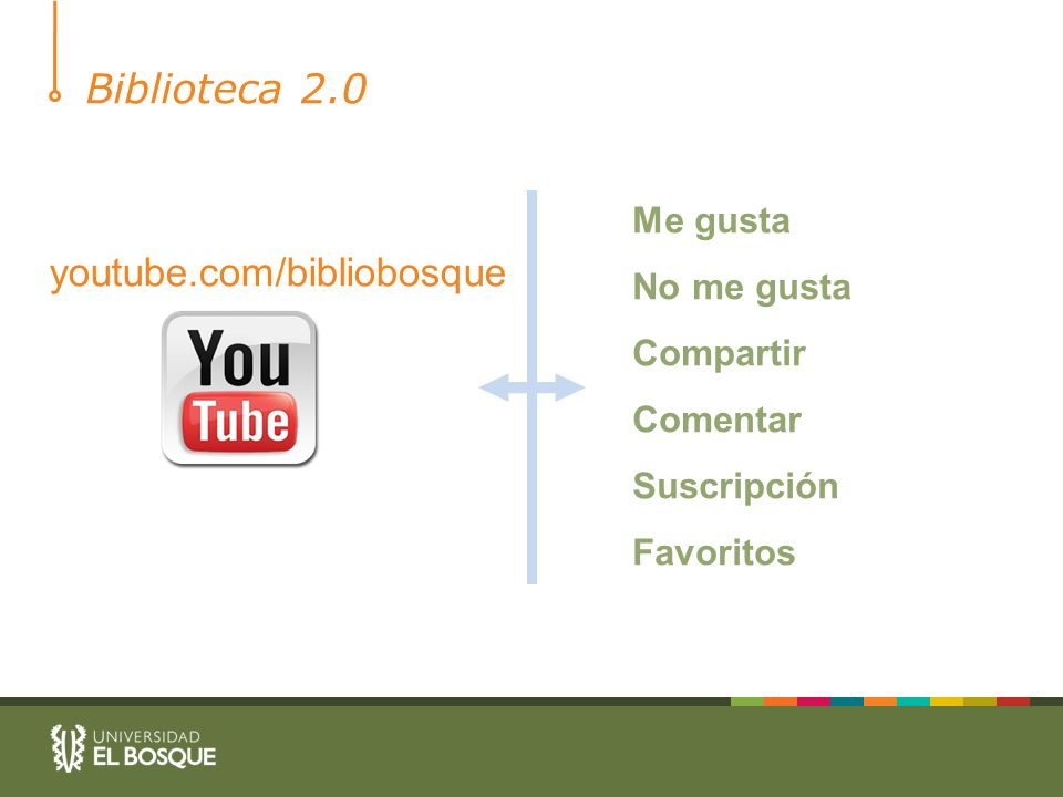 Biblioteca 2.0 youtube.com/bibliobosque Me gusta No me gusta Compartir