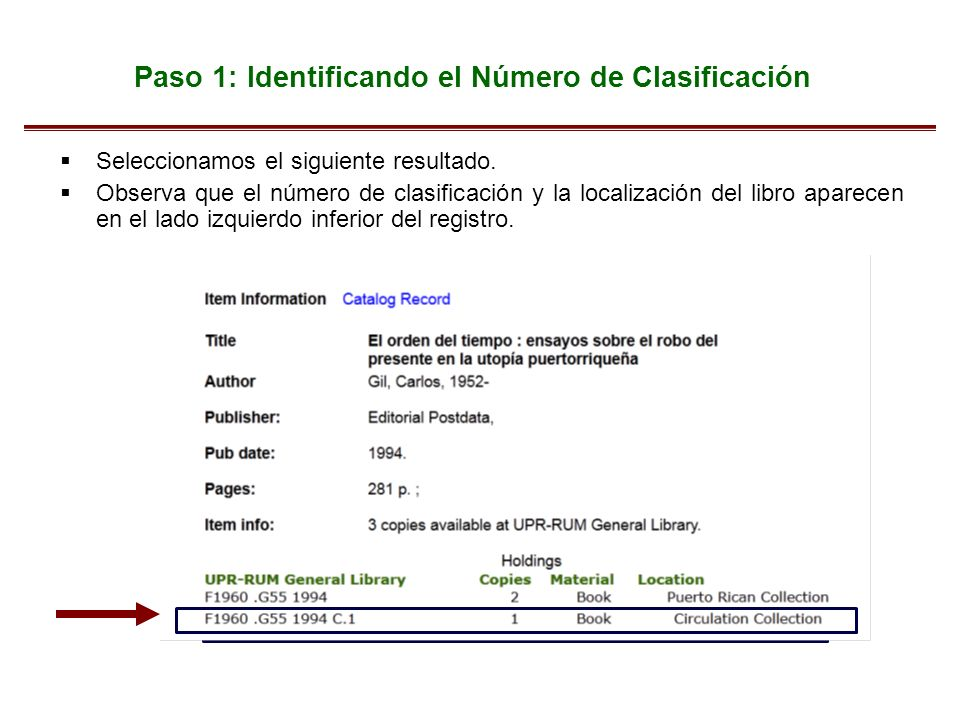 Paso 1: Identificando el Número de Clasificación