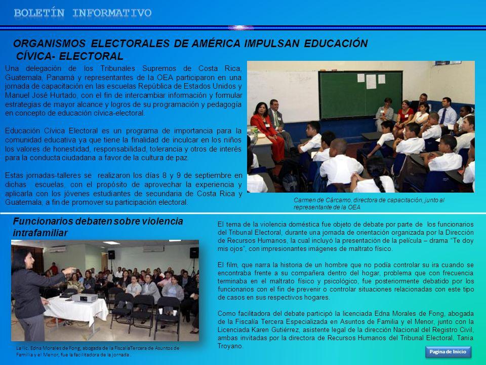 BOLETíN INFORMATIVO ORGANISMOS ELECTORALES DE AMÉRICA IMPULSAN EDUCACIÓN. CÍVICA- ELECTORAL.