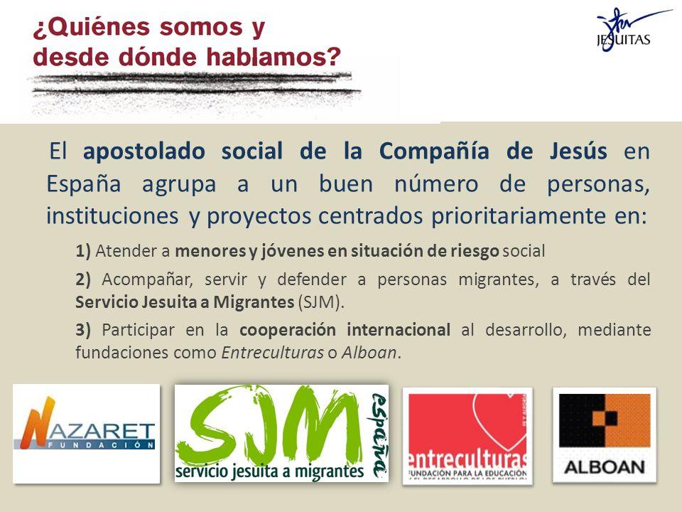 El apostolado social de la Compañía de Jesús en España agrupa a un buen número de personas, instituciones y proyectos centrados prioritariamente en: