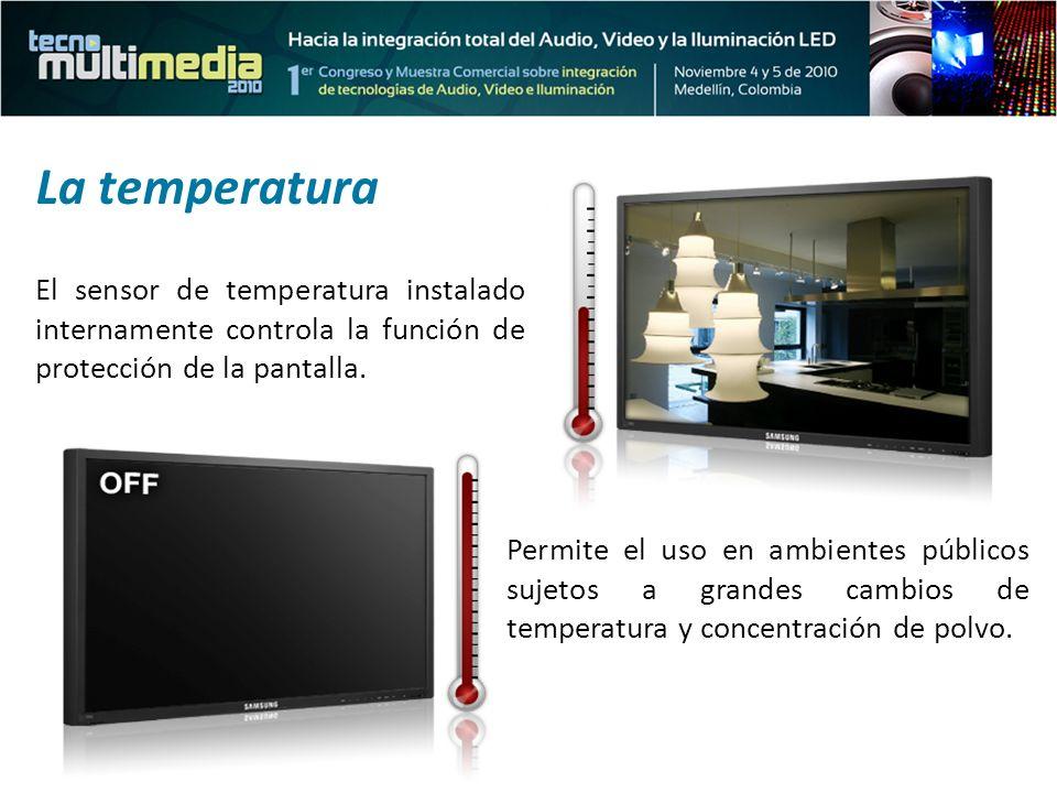 La temperatura El sensor de temperatura instalado internamente controla la función de protección de la pantalla.