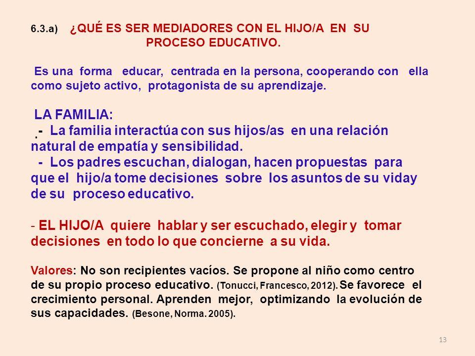 6.3.a) ¿QUÉ ES SER MEDIADORES CON EL HIJO/A EN SU