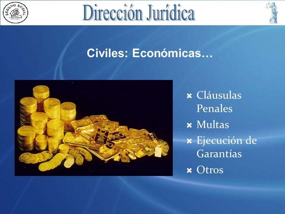 Civiles: Económicas… Cláusulas Penales Multas Ejecución de Garantías