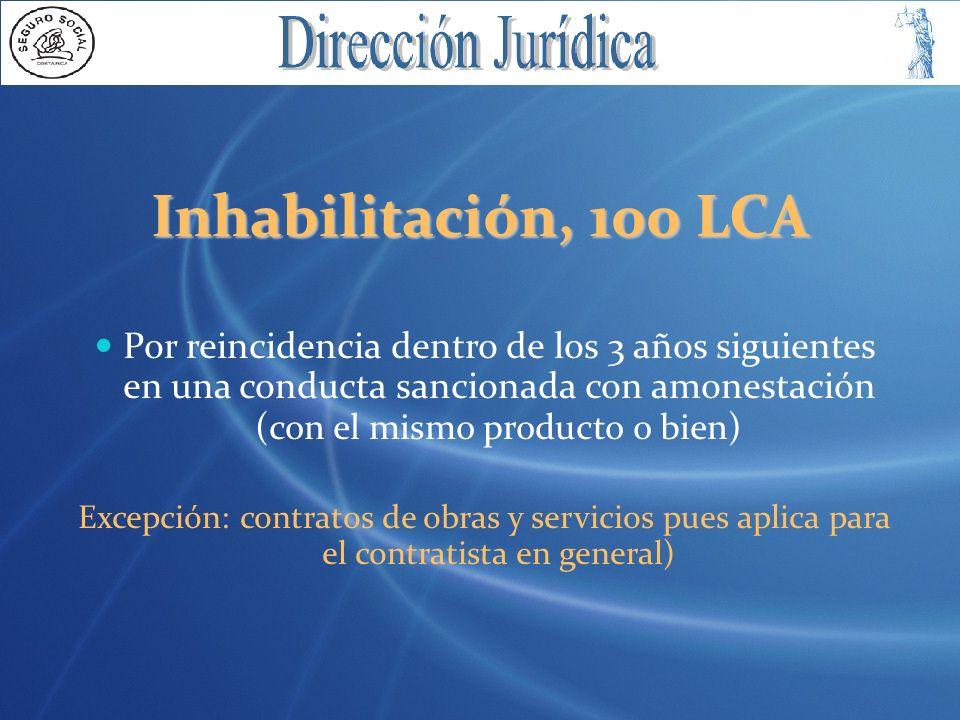 Inhabilitación, 100 LCA Por reincidencia dentro de los 3 años siguientes en una conducta sancionada con amonestación (con el mismo producto o bien)