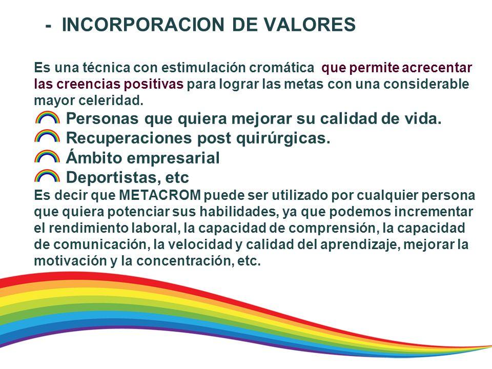- INCORPORACION DE VALORES