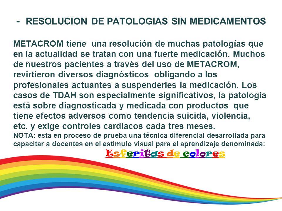 - RESOLUCION DE PATOLOGIAS SIN MEDICAMENTOS