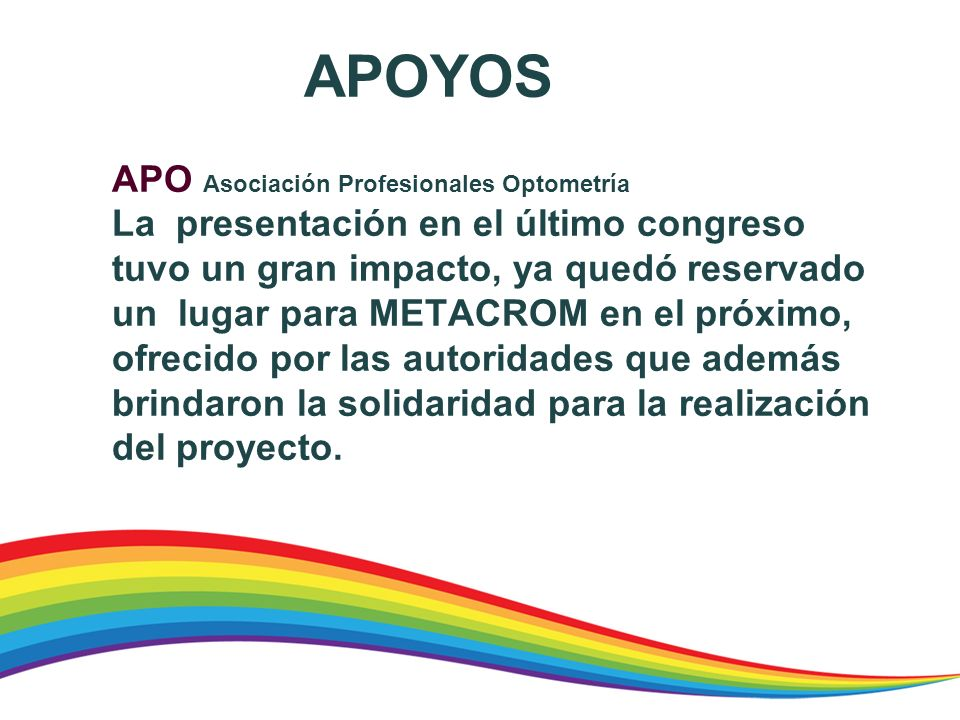 APOYOS APO Asociación Profesionales Optometría.