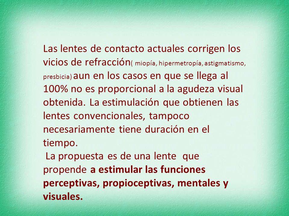 Las lentes de contacto actuales corrigen los vicios de refracción( miopía, hipermetropía, astigmatismo, presbicia) aun en los casos en que se llega al 100% no es proporcional a la agudeza visual obtenida. La estimulación que obtienen las lentes convencionales, tampoco necesariamente tiene duración en el tiempo.