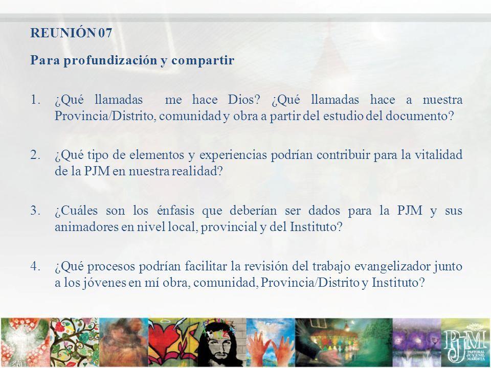 REUNIÓN 07 Para profundización y compartir.